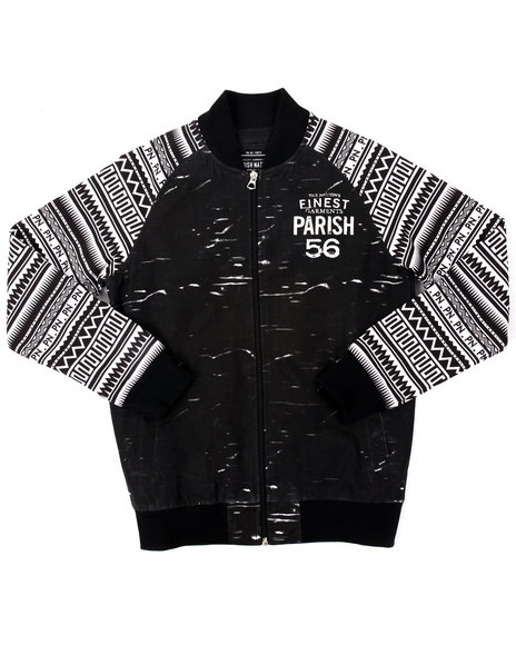 Parish - Boys Black Printed Nylon Heritage Jacket (8-20)