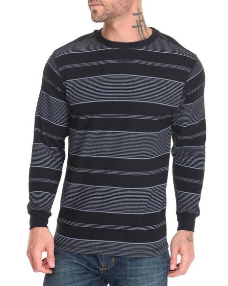 Basic Essentials - Men Black,Grey Crew Neck Printed Stripe L/S Thermal