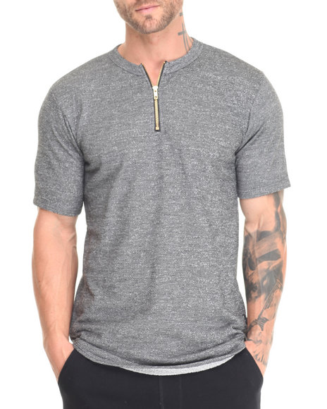 Eptm. - Men Grey Zippered Neck Long S/S Tee