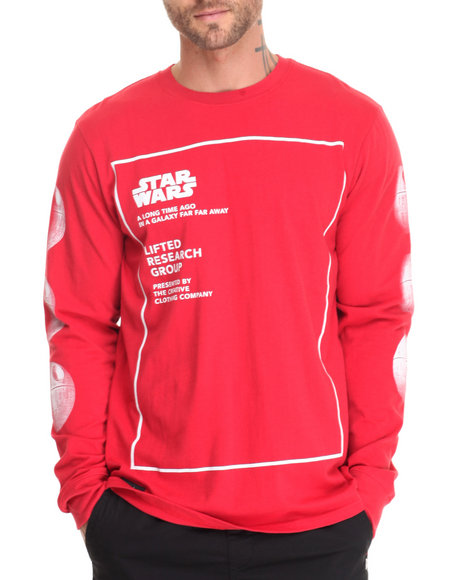 Lrg Men Space Station Ls Tee Red Small