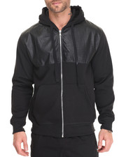 Basic Essentials - Fleece Full-Zip Hoodie w/ Faux Leather Trim
