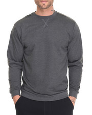 Sweatshirts & Sweaters - L/S French Terry Crew Neck Pullover w/ Faux Leather Trim