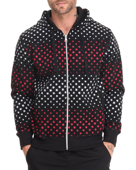 Basic Essentials - Men Black,Red,White Stars Fleece Printed Full-Zip Hoodie