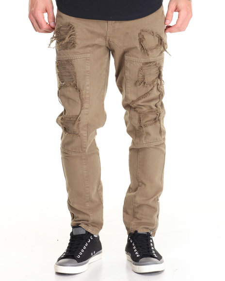 Allston Outfitter - Men Green,Olive Twill Rip And Repaired Pants