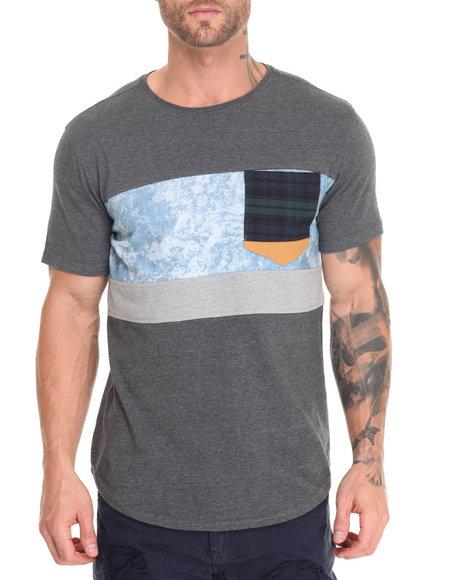 Allston Outfitter - Men Charcoal Acid Wash Denim Block T-Shirt