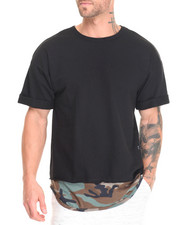 T-Shirts - CAMO FAUX LAYER ELONGATED S/S TEE