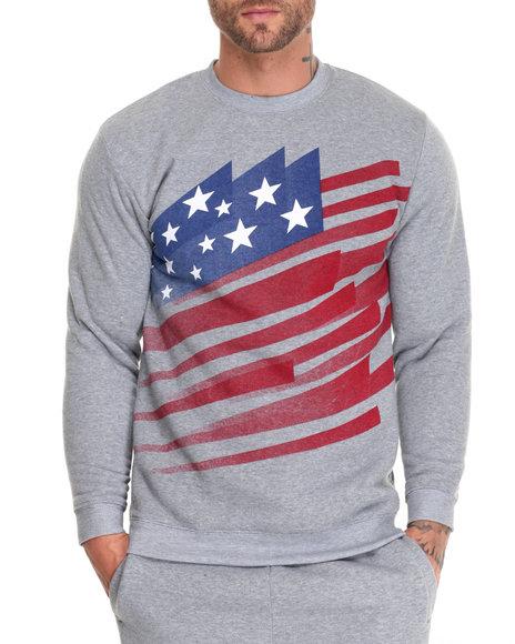 Basic Essentials - Men Grey American Blast Crew Neck Fleece Print Pullover