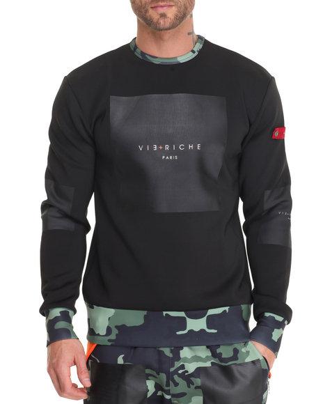 Vie + Riche - Men Black Box Logo Camo - Tail Crewneck Sweatshirt