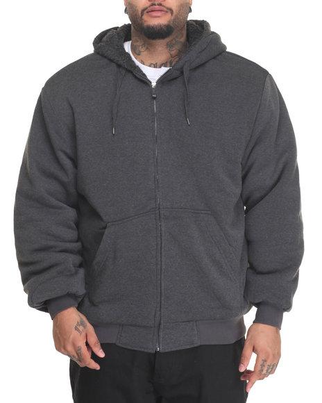 Basic Essentials - Men Charcoal Sherpa Lined Fleece Zip Up Hoodie (B&T)