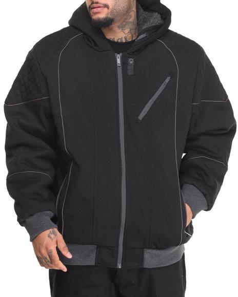 Basic Essentials - Men Black Zip Jacket W/ Sherpa Lined Hood - $69.99