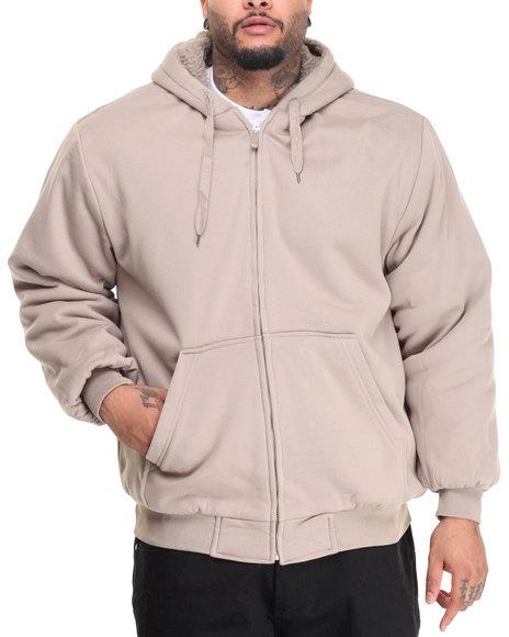 Basic Essentials - Men Khaki Sherpa Lined Fleece Zip Up Hoodie (B&T)