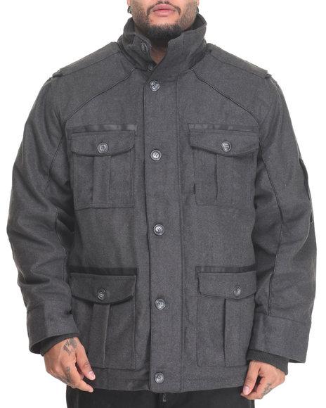 Basic Essentials - Men Charcoal Peacoat W/ Vegan Leather Trim Detail (B&T)