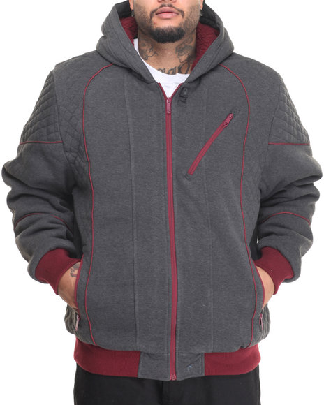 Basic Essentials - Men Charcoal Zip Jacket W/ Sherpa Lined Hood