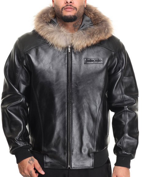 Pelle Pelle Leathers - Men Black Classic Applique Em- Bossed Fox Fur Hooded Leather Jacket