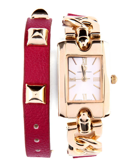 Adrienne Vittadini Women Link Grommet Trim Leather Wrap Watch Red