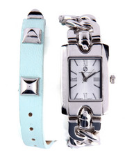 Jewelry - Link Grommet Trim Leather Wrap Watch