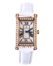Jewelry - Square Bling Face Leather Band Watch