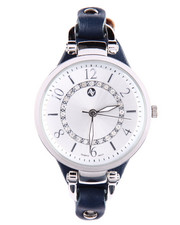 Jewelry - Round Face Thin Leather Strap Watch