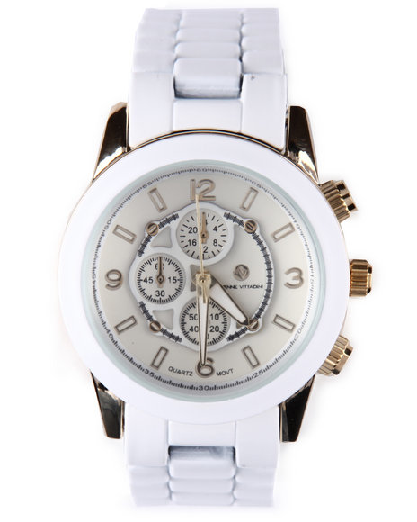 Adrienne Vittadini Women Round Face Ceramic Band Watch White