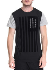 Men - Flocked American Flag Tee