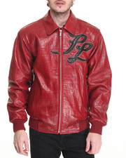Outerwear - Neoprene Croc Applique Embossed Leather Jacket