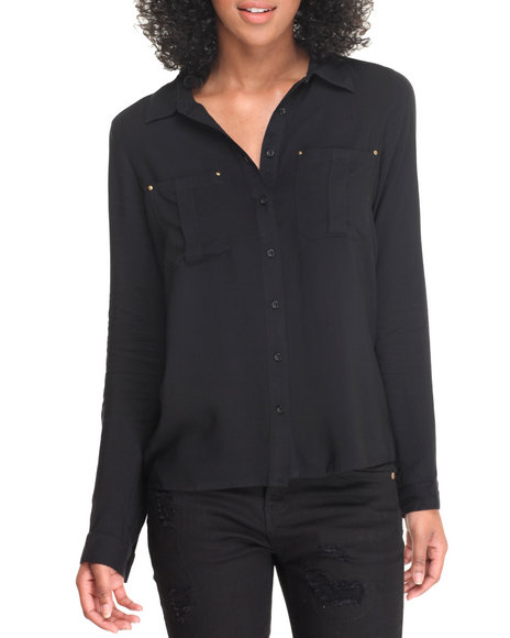 Basic Essentials - Women Black Roll Sleeve Button Down Hi-Low Tunic