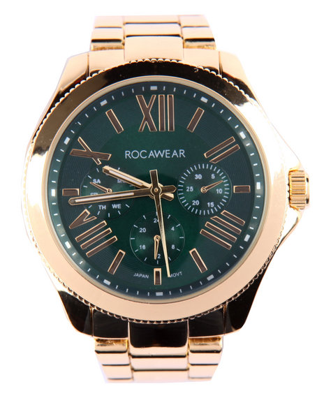 Rocawear Women Genius Dial Ceramic Band Watch Gold