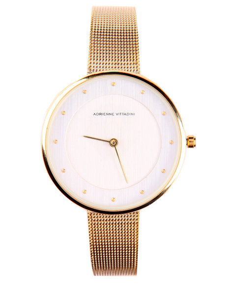 Adrienne Vittadini Women Round Face Mesh Band Watch Gold