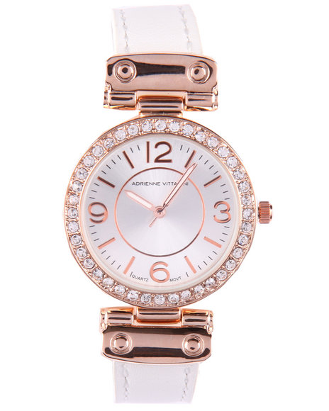 Adrienne Vittadini Women Bling Face Leather Band Watch Rose Gold