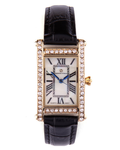 Adrienne Vittadini Women Square Bling Face Leather Band Watch Black