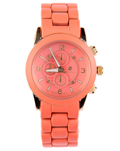 Adrienne Vittadini Women Round Face Ceramic Band Watch Coral