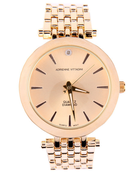 Adrienne Vittadini Women Round Face Metal Band Watch Gold