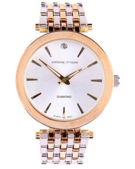 Adrienne Vittadini Women Round Face 2-Tone Metal Band Watch Gold
