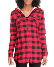 Tops - Sherpa Lined Flannel Hoodoed Tunic