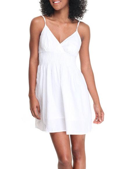 She's Cool Women Smocked Waist Cotton Dress White Small