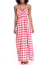 Dresses - Buffalo Plaid Smocked Waist Maxi