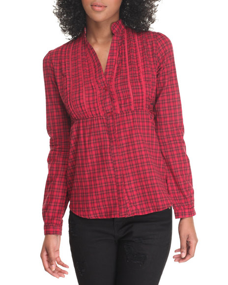 She's Cool Women Plaid Tunic Top Red X-Large