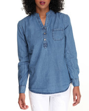 Tops - Placket Roll Sleeve Denim Shirt