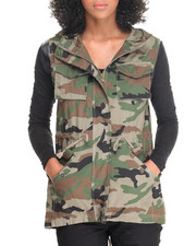 Vests - Camo Sleeveless Hooded Vest