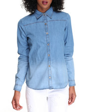 Tops - Ombre Denim Long Sleeve Shirt