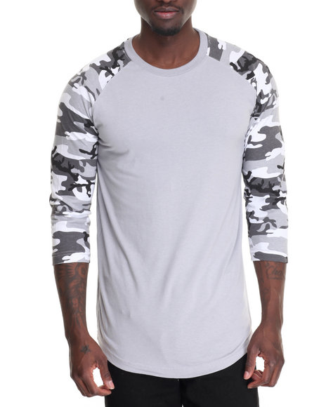 Basic Essentials - Men Camo,Grey Camo 3/4 Raglan Sleeve Crew Neck T-Shirt