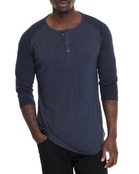 Basic Essentials - Men Navy 3/4 Raglan Sleeve Henley T-Shirt