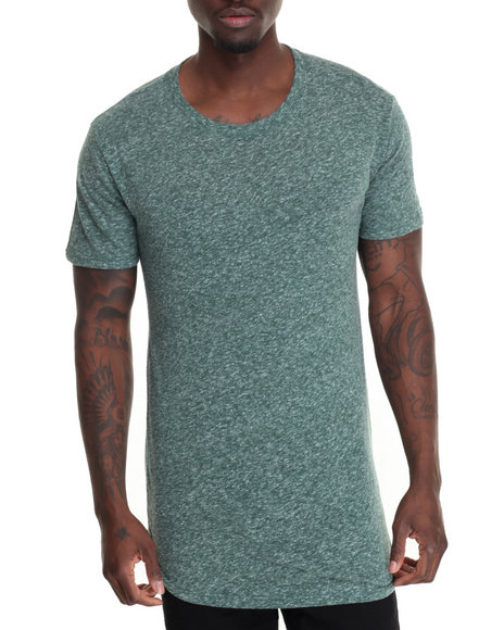 Entity - Men Green Scallop Hem Knit T-Shirt