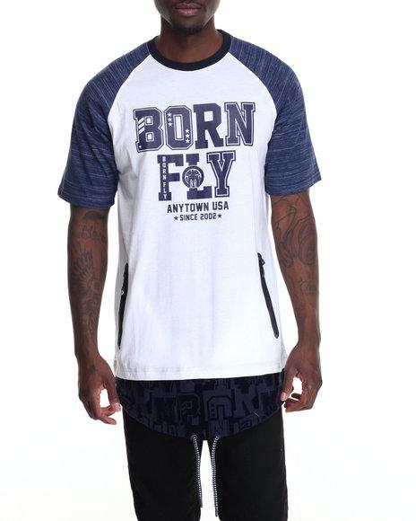 Born Fly - Men Navy,White Anole Tee - $42.00