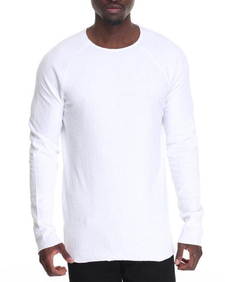 Entity - Men White Raw Edge L/S Knit T-Shirt
