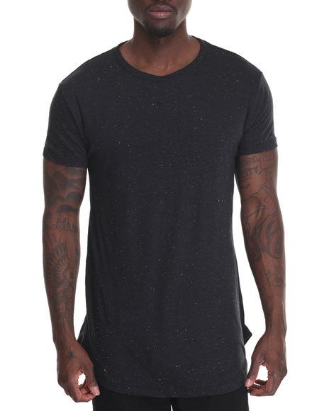 Entity - Men Black Scallop Hem Knit T-Shirt