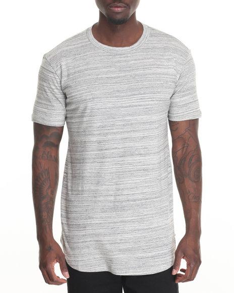 Entity - Men Cream,Grey Scallop Hem Knit T-Shirt