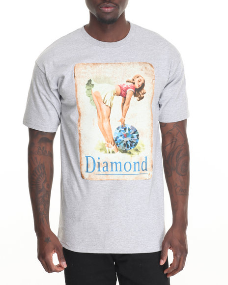 Diamond Supply Co Men Pin Up Girl Tee Light Grey Large