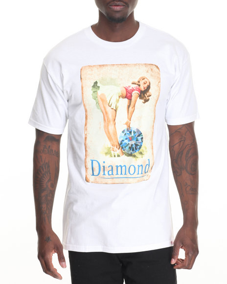 Diamond Supply Co Men Pin Up Girl Tee White Medium