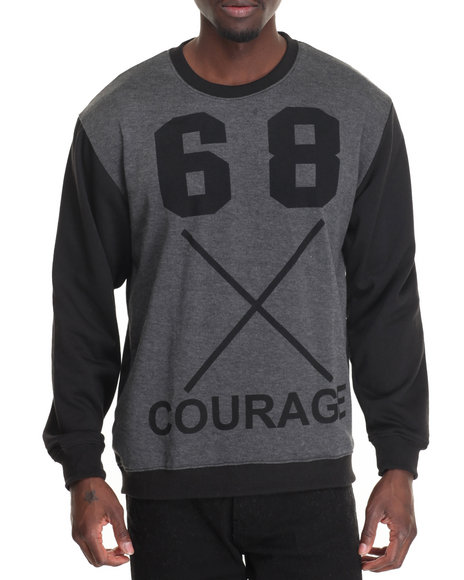 Basic Essentials - Men Black,Grey Courage L/S French Terry Printed Pullover